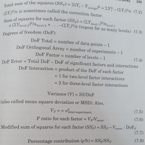 Statistical Analysis of DoEs